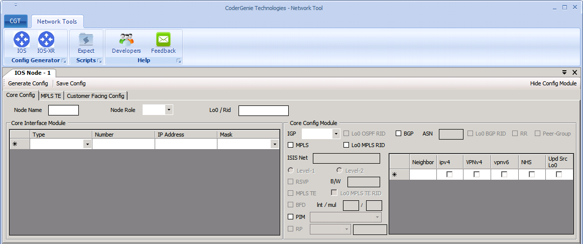network configuration generator screen
